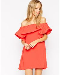 ASOS | Orange Sundress With Off Shoulder Frill Detail | Lyst