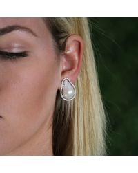 Jordan Alexander - White Fresh Water Baroque Pearl Studs - Lyst