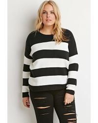 Forever 21 | Black Plus Size Stripe Mixed Knit Sweater | Lyst