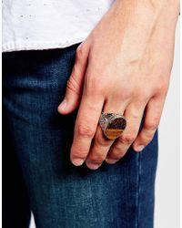 ASOS - Metallic Embellished Ring With Semi-precious Tigers Eye Stone for Men - Lyst