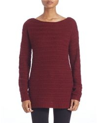 Lord & Taylor Red Rack-stitch Boat-neck Sweater