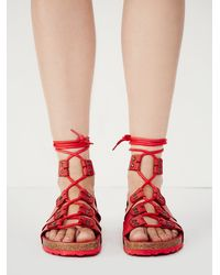 Free People - Red Jeffery Campbell Womens Pasadena Lace Up Footbed - Lyst
