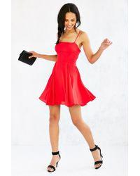 Silence + Noise Red Noir Strappy-back Mini Dress