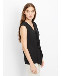 Vince - Black Zip Neck Laser Cut Sleeveless Top - Lyst
