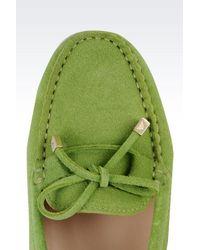 Emporio Armani - Green Suede Driving Shoe - Lyst