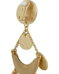 Kenneth Jay Lane Metallic Hammered Gold-Plated Clip Earrings