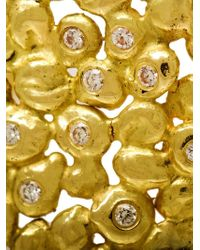 Natasha Collis   Metallic 18kt Dripped Gold Diamond Cuff   Lyst