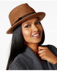 Nine West | Natural Felt Wide Crown Fedora | Lyst
