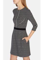 Karen Millen Black Stripe Jersey Dress