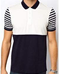 ASOS - Blue Polo with Polka Dot Cut and Sew for Men - Lyst