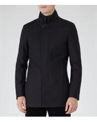 Reiss Blue Porto Funnel Collar Coat for men