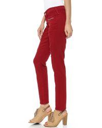 True Religion Victoria Moto Skinny Jeans Rio Red
