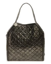 Stella McCartney - Black 'falabella - Large' Quilted Metallic Faux Leather Tote - Metallic - Lyst