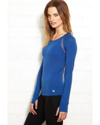 Forever 21 - Blue Mesh-Trimmed Active Top - Lyst
