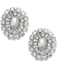 Lauren by Ralph Lauren | Metallic Silver-Tone Crystal Oval Clip-On Earrings | Lyst