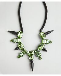Noir Jewelry - Green Crystal and Stud Bib Necklace - Lyst