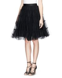 Alice + Olivia Black 'darcy' Tiered Tulle Skirt