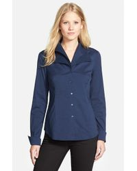 NYDJ Blue Fit Solution Double Collar Shirt