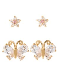 Betsey Johnson | Metallic Glitz Flower And Butterfly Earring Duo | Lyst