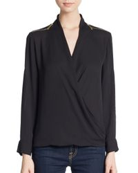 Chaus New York | Black Zipper Detailed Roll-tab Sleeve Blouse | Lyst