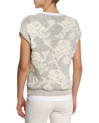 Brunello Cucinelli - Gray Floral-knit Short-sleeve Sweater - Lyst