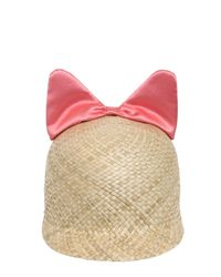 Federica Moretti Pink Minu Woven Straw Hat With Silk Satin Bow