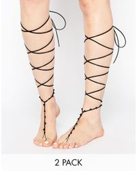 ASOS | Black Pack Of 2 Knee High Suede Look Anklets | Lyst