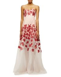 Lela Rose - Pink Raised-floral Strapless Gown - Lyst