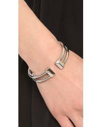 Rebecca Minkoff Metallic Rectangle Stud Hinge Cuff Bracelet Rhodium