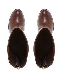 Dune Brown Tyne Leather Back Zip Tab Detail Knee High Boot