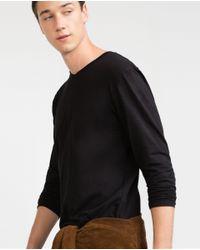 Zara | Black Button Neck Top for Men | Lyst