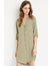 Forever 21 - Green Collarless Shirt Dress You've Been Added To The Waitlist - Lyst