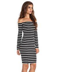 Nicholas - Black Riviera Stripe Off Shoulder Long Sleeve Dress - Lyst