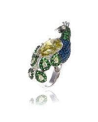 Noir Jewelry - Green Penny The Peacock Ring - Lyst