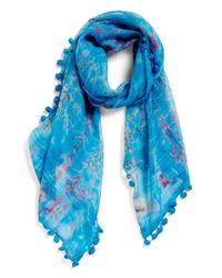 La Fiorentina - Blue Tie Dye Silk & Cotton Scarf - Lyst