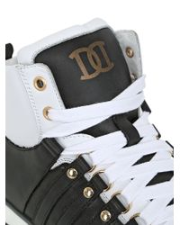 DSquared² Black 20mm Leather High Top Sneakers for men