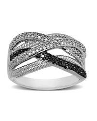 Lord & Taylor | Metallic Black And White Diamond Ring In Sterling Silver 0.38 Ct. T.w. | Lyst