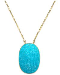 kate spade new york | Blue Gold-tone Turquoise-colored Pavé Pendant Necklace | Lyst
