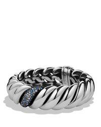 David Yurman Metallic Hampton Cable Narrow Bracelet With Gray Diamonds