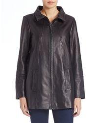 Jones New York - Black Leather Jacket - Lyst