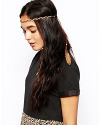 ASOS - Brown Beaded Headband With Feathers - Lyst