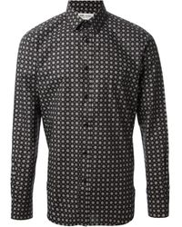 Saint Laurent - Black Floral Print Shirt for Men - Lyst