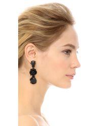 Oscar de la Renta - Resin Flower Earrings - Black/black - Lyst