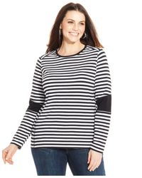 Michael Kors | Black Michael Plus Size Colorblocked Striped Top | Lyst
