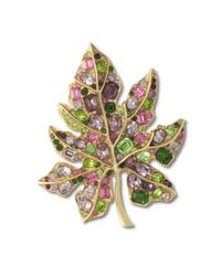 Kenneth Jay Lane | Multicolor Multi-pastel Leaf Brooch | Lyst