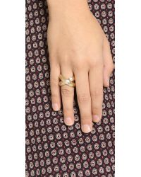 Giles & Brother Metallic Large X Knot Ring - Gold