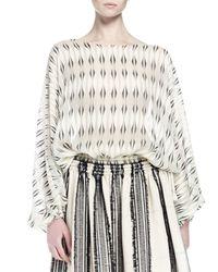 Lanvin - Natural Long-sleeve Printed Silk Blouse - Lyst