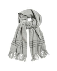 Rag & Bone - Gray Brushed Stripe Merino Wool Scarf - Lyst