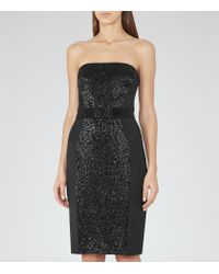 Reiss - Black Olympia Strapless Embellished Dress - Lyst