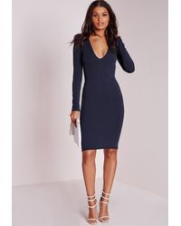 Missguided | Blue Ponte Long Sleeve Plunge Midi Dress Navy | Lyst